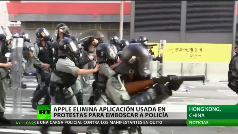 Apple elimina una aplicación usada por los manifestantes en Hong Kong para emboscar a la policía