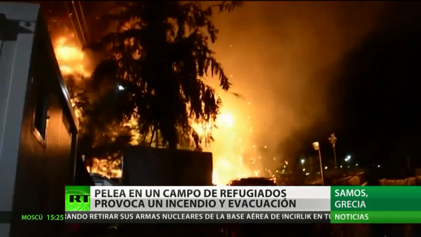 Grecia: Una masiva pelea en un campo de refugiados provoca un incendio y evacuación