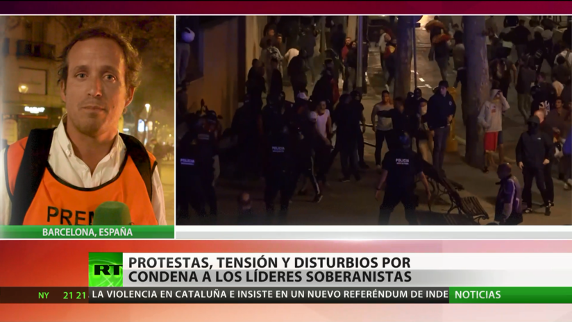 Multitudinaria protesta en apoyo a los independentistas condenados