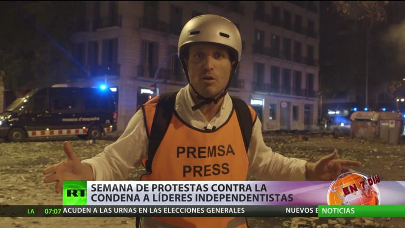 Semana de protestas en Barcelona contra la condena a prisión de políticos independentistas catalanes