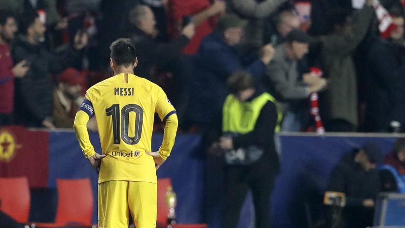 VIDEO: La mirada sostenida de Messi al técnico Valverde cuando el Barcelona empataba con el Slavia de Praga