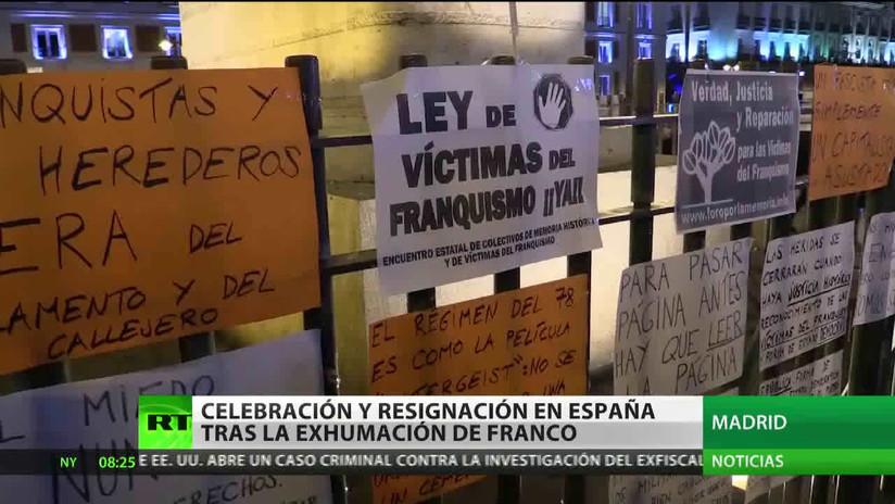 Celebración y resignación en España tras la exhumación de Francisco Franco