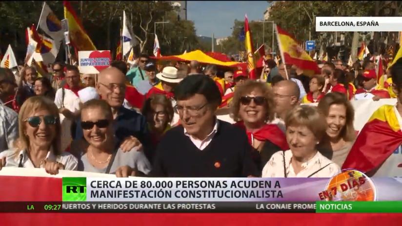 Cerca de 80.000 personas acuden a una manifestación en Barcelona para revindicar la unidad de España