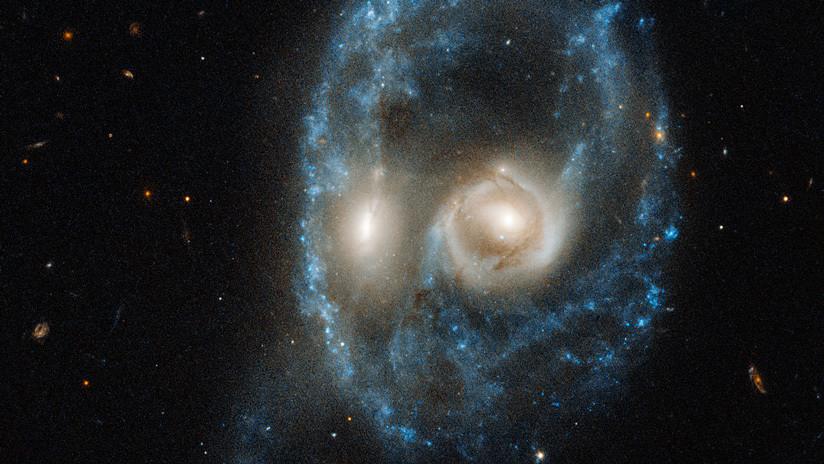 FOTO: La NASA capta una rara colisión de galaxias con forma de un rostro siniestro