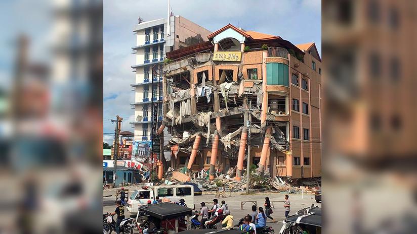 Primeras imágenes: Un nuevo terremoto causa serias destrucciones y el derrumbe de un hotel en Filipinas