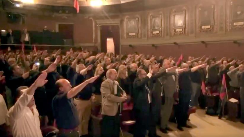 El Ateneo de Madrid acogió un acto de Falange Española que culminó frente al Congreso de los Diputados