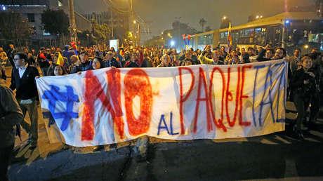 Ecuatorianos protestan contra medidas económicas de Moreno, Quito, Ecuador, 2 de octubre de 2019.