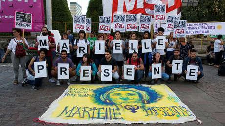 Un grupo recuerda la muerte de Marielle Franco. Buenos Aires, Argentina. 14 de marzo 2019.