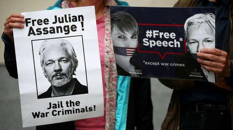 Seguidores de Julian Assange en Londres, Reino Unido, el 14 de junio de 2019.