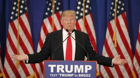 El candidato presidencial republicano, Donald Trump, durante una conferencia de prensa en Florida, el 8 de marzo de 2016.