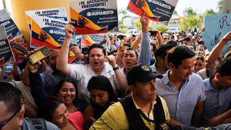 Partidarios del presidente de Ecuador, Lenín Moreno, en Guayaquil, el 8 de octubre de 2019.