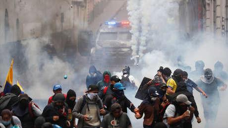 Disturbios durante una protesta contra el presidente de Ecuador, Lenin Moreno, en Quito, 9 de octubre de 2019.