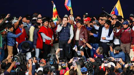 Asamblea popular del movimiento indígena en Quito, Ecuador, 10 de octubre de 2019.