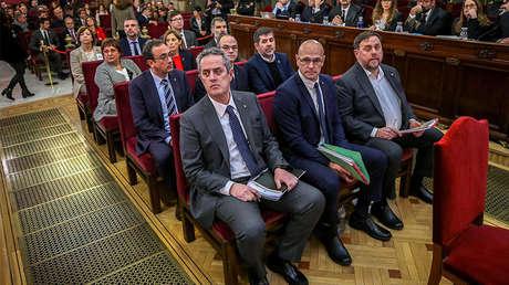 Líderes independentistas durante el juicio del 'procés' en el Tribunal Supremo de Madrid (España), el 12 de febrero de 2019.