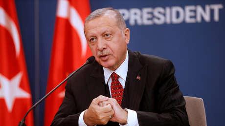 El presidente turco, Recep Tayyip Erdogan, durante una conferencia de prensa en Belgrado, Serbia, el 7 de octubre de 2019.