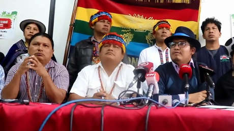 Conferencia de prensa de la CONAIE, en Ecuador, 23 de octubre de 2019.