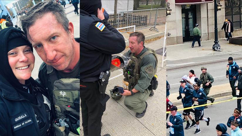 FOTO: Corre 14 km cargado con su equipo policial y salva una vida antes de declararse