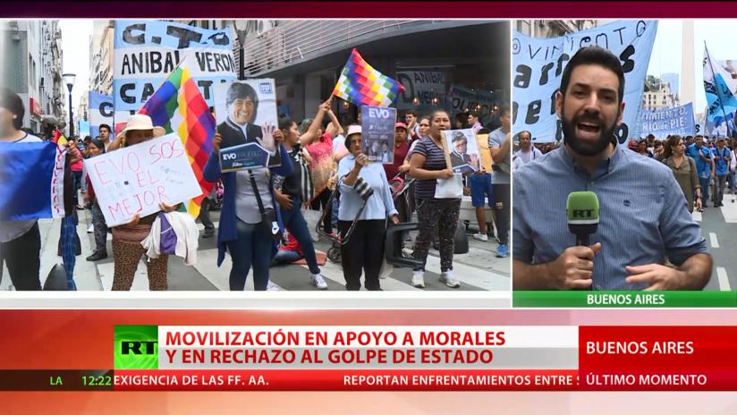 Argentina: Movilización en apoyo a Morales y en rechazo al golpe de Estado