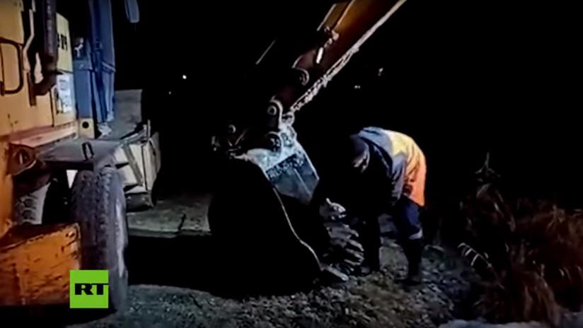 VIDEO: Obrero ruso se sube al cucharón de una excavadora para salvar a un perro callejero que cayó a un lago congelado