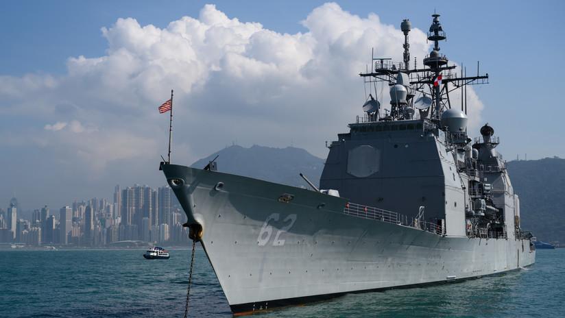 El crucero lanzamisiles estadounidense USS Chancellorsville atraviesa el estrecho de Taiwán (FOTOS)