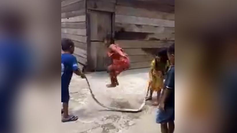 VIDEO: Niños 'saltan a la cuerda' con una serpiente muerta