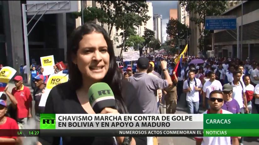 El chavismo marcha en contra del golpe de Estado en Bolivia y en apoyo a Maduro