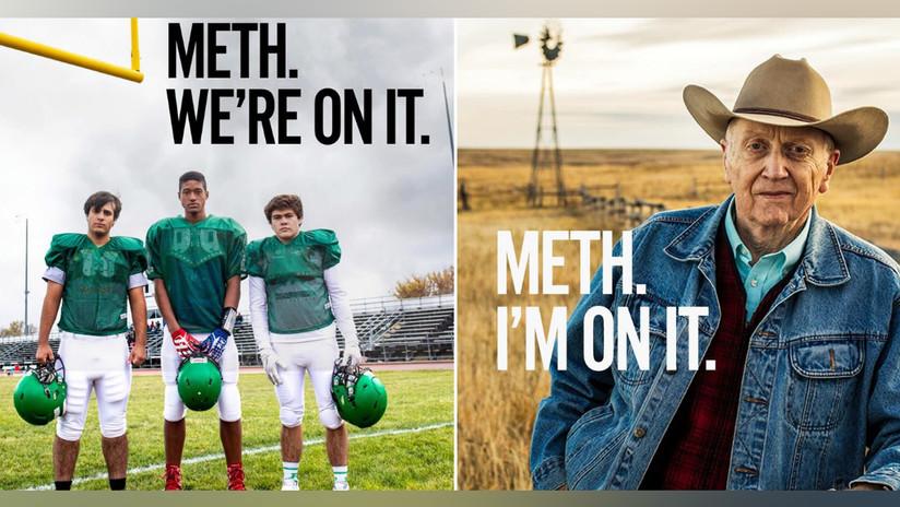"""""""Metidos en la metanfetamina"""": Una campaña antidrogas de 500.000 dólares en EE.UU. muestra a ancianos y niños que repiten el raro eslogan"""