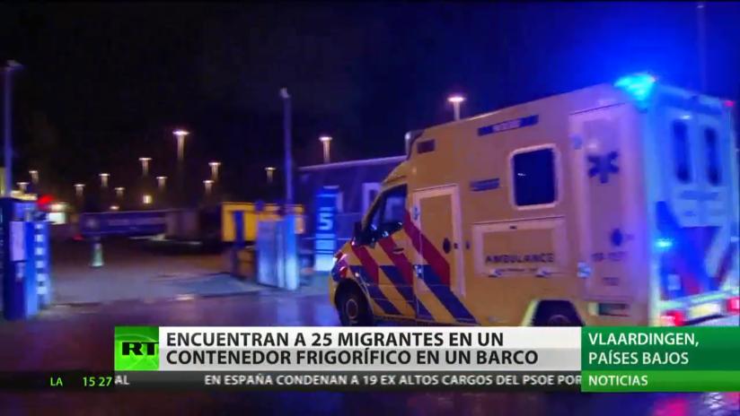 Hallan en los Países Bajos a 25 inmigrantes dentro de un contenedor frigorífico en un barco