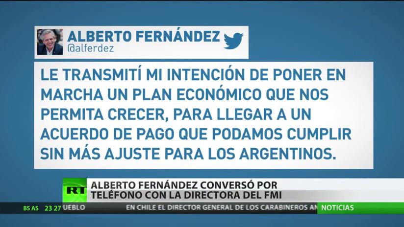 Alberto Fernández manifiesta al FMI su intención de poner en marcha un plan económico que permita a Argentina crecer