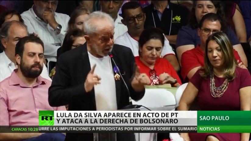 Lula da Silva aparece en un acto de su partido y ataca la derecha de Bolsonaro