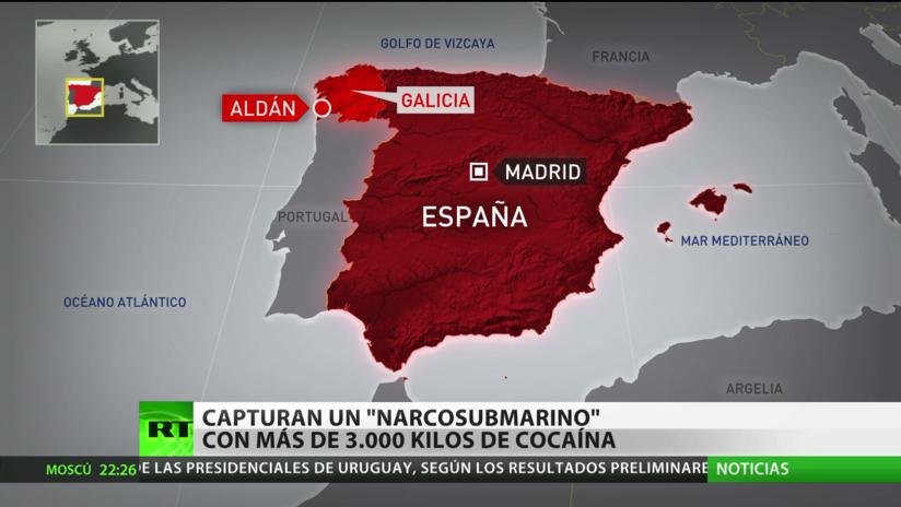 Capturan un submarino con más de 3.000 kilos de cocaína en el noroeste de España