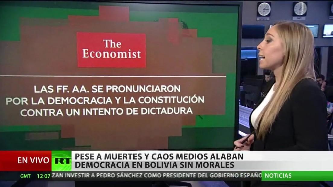 Medios de comunicación alaban la democracia en Bolivia sin Morales en medio de las muertes y el caos