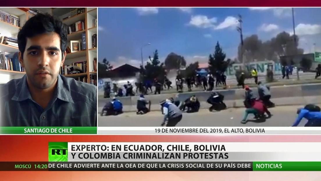 Experto: Los gobiernos latinoamericanos afectados por las protestas buscan criminalizar las manifestaciones sociales