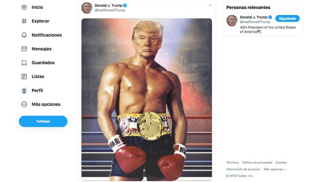 FOTO: Trump 'se disfraza' de Rocky Balboa y deja boquiabierta a la Red