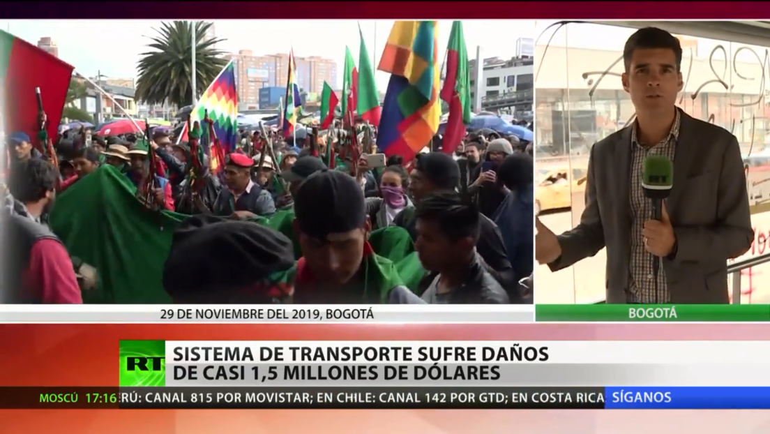 El sistema de transporte colombiano sufre daños valuados en 1,5 millones de dólares tras las protestas