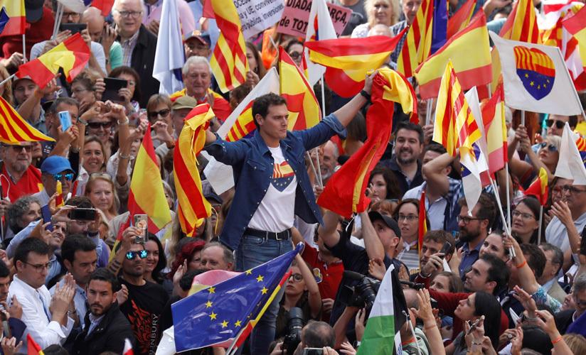 Albert Rivera, líder de Ciudadanos, en una manifestación por la unidad de España. Barcelona, 20 de octubre de 2019.