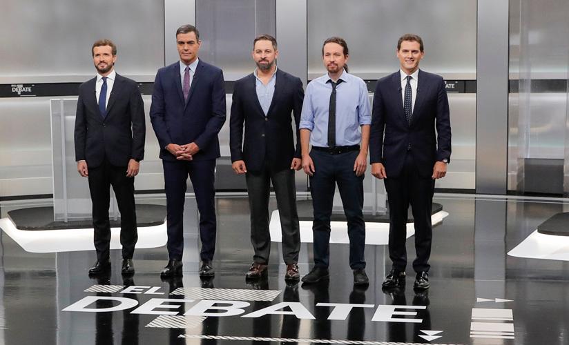 Casado, Sánchez, Abascal, Iglesias y Rivera en el único debate a cinco de la campaña. 4 de noviembre de 2019.