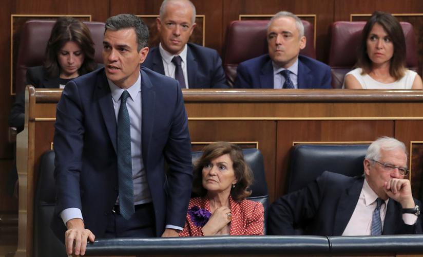 El presidente en funciones, Pedro Sánchez, durante la votación de la investidura fallida del 25 de julio de 2019. Congreso de los Diputados, Madrid.