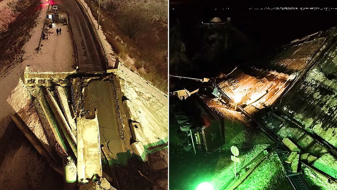 VIDEO: Un conductor graba el último segundo antes del derrumbe de un puente en una autopista