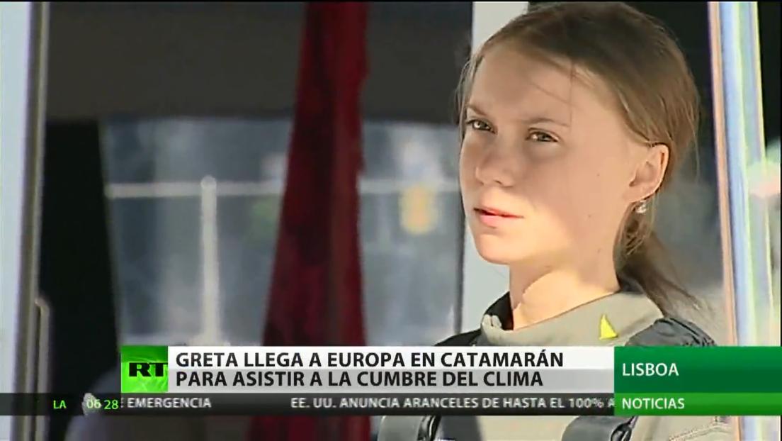 Greta Thunberg llega a Lisboa tras un viaje transatlántico en catamarán
