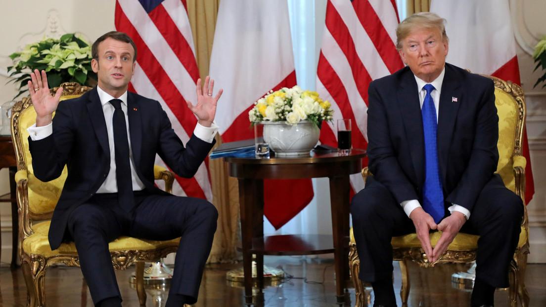 """Trump le pregunta a Macron si le gustaría recibir """"unos buenos combatientes del EI"""" y luego lo elogia por """"una de las mejores anti-respuestas"""""""