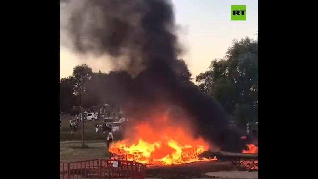 VIDEO: La 'torta frita' más grande del mundo requirió de bomberos para apagar un pavoroso incendio