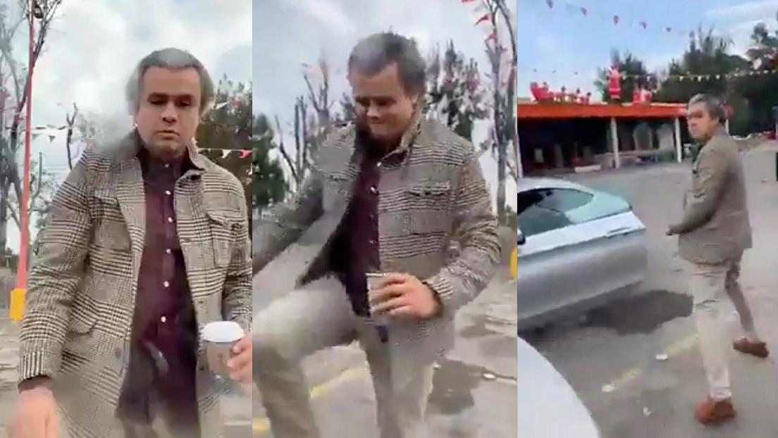 #LordCafé arroja bebida caliente a una mujer y patea su auto tras un incidente vial en México (VIDEO)