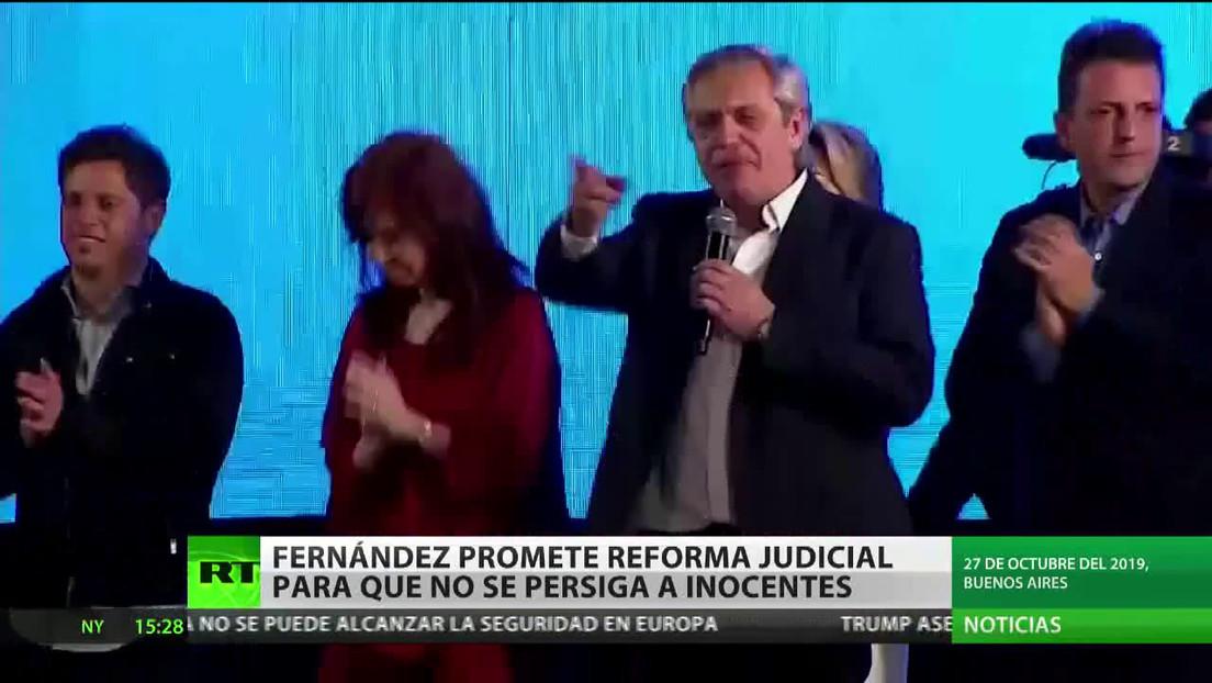 Fernández promete reforma judicial para que no se persiga a inocentes en Argentina