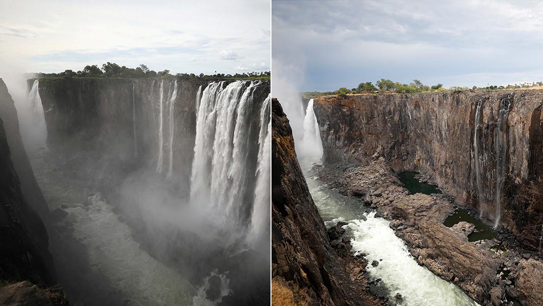 FOTOS: El antes y después de las cataratas Victoria, que casi se han secado en menos de un año