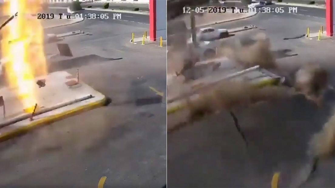 VIDEO: Fuerte explosión levanta el suelo en una gasolinera en Arabia Saudita