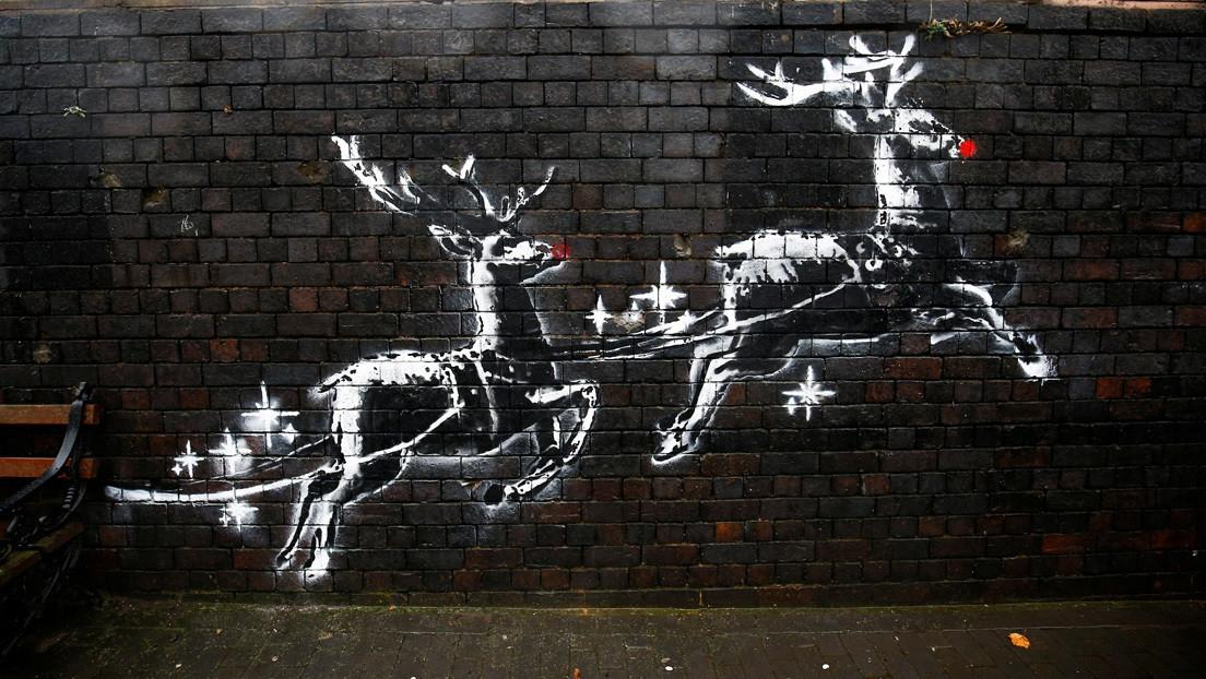 Graffiti navideño de Banksy es vandalizado a pocas horas de aparecer