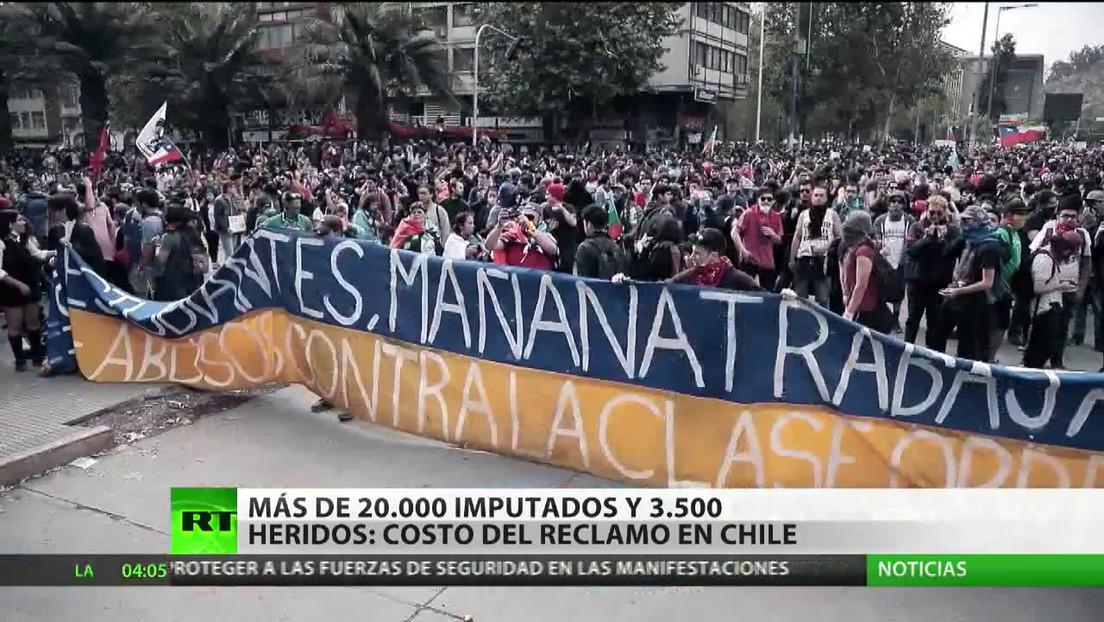Balance de las protestas en Chile: más de 20.000 imputados y 3.500 heridos