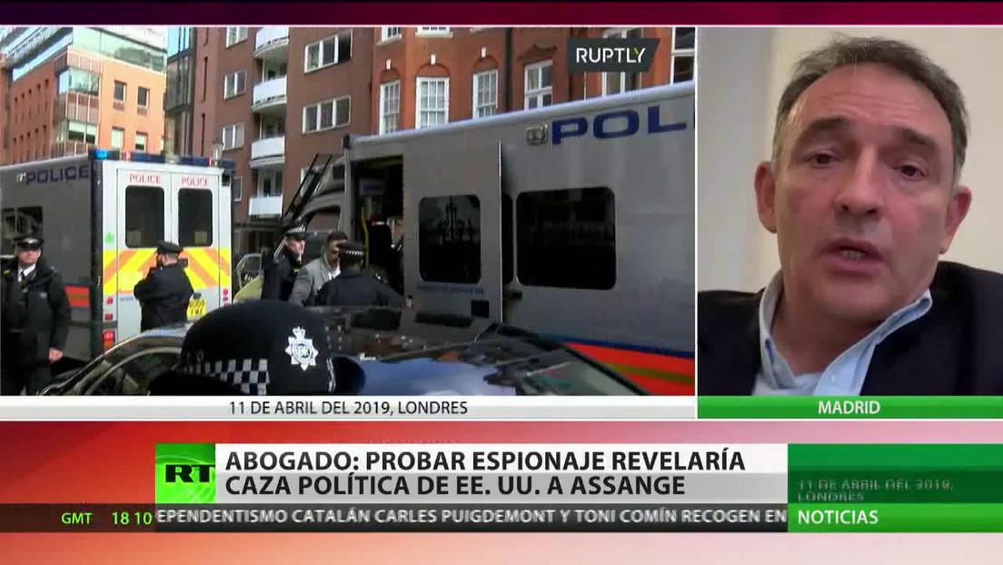 """Abogado: """"Probar espionaje revelaría caza política de EE.UU. a Assange"""""""
