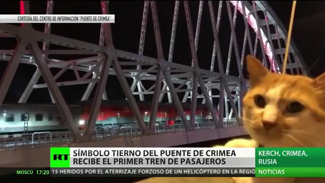 El tierno símbolo del puente de Crimea recibe el primer tren de pasajeros